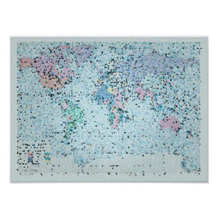 Blue world map posters photo prints zazzle its a beautiful world map poster gumiabroncs Choice Image