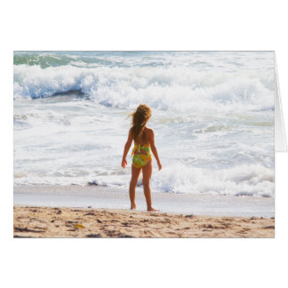 Its A Big World - Little Girl At The Beach Greeting Card