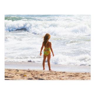 Its A Big World - Little Girl At The Beach Postcard