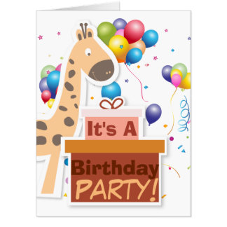 """Its A Birthday Party"" Cartoon Animals GIANT Card"