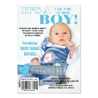 It's A Bouncing Baby Boy Magazine Cover 5x7 Paper Invitation Card