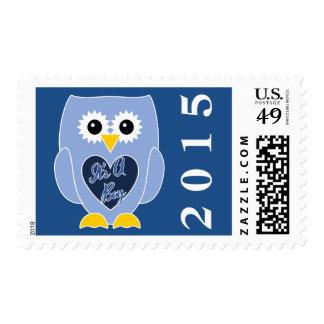 It's A Boy 2015 Owl Postage Stamp