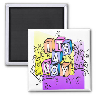 It's A Boy 2 Inch Square Magnet