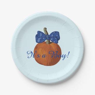 It's a Boy Adorable Lil Pumpkin Baby Shower Paper Plate