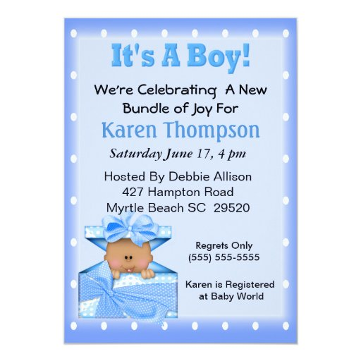 It's a Boy African American Baby Shower Personalized Invitations