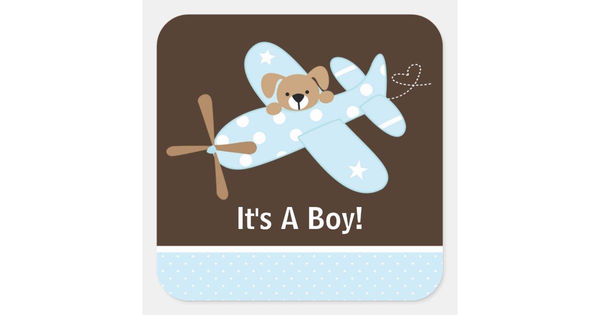 It S A Boy Airplane Baby Birth Announcement Square Sticker