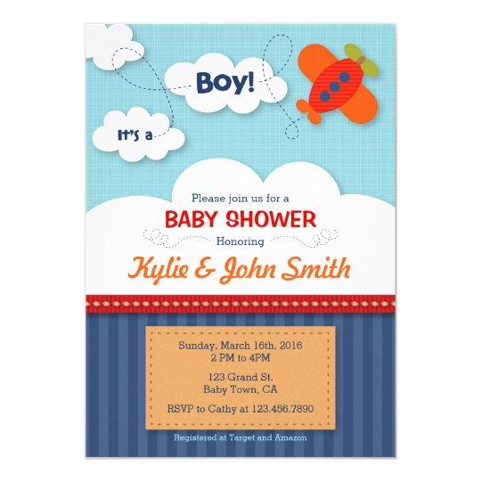 Its a Boy Airplane Baby Shower Invitation Zazzlecom