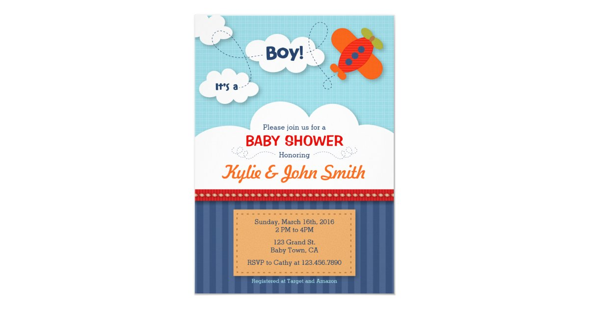 It\'s a Boy Airplane Baby Shower Invitation | Zazzle.com