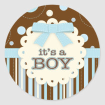 It's a Boy All in Blue Stitches & Bow Baby Shower Classic Round Sticker