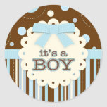 It's a Boy All in Blue Stitches & Bow Baby Shower Sticker