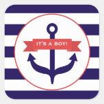 It's A Boy Anchor Banner & Stripes Baby Sticker
