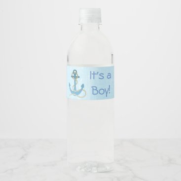 "Beach Themed ""It's a Boy"" Anchor Nautical Blue Bottle Label"