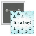 It's a Boy! Anchor Pattern Baby Blue Buttons