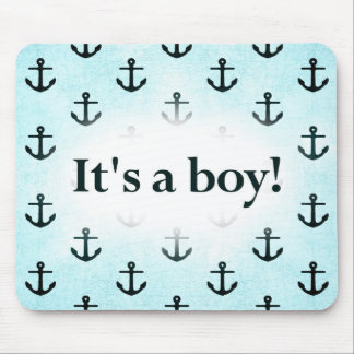 It's a Boy! Anchor Pattern Baby Blue Mouse Pad