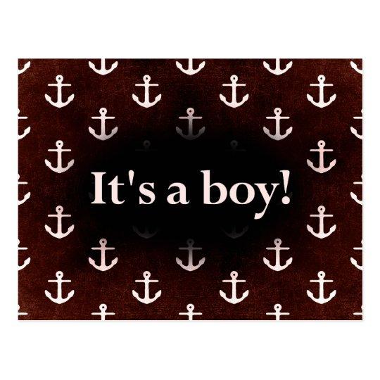 It's a Boy! Anchor Pattern Dark Red Postcard