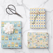 It's a Boy Animal Alphabet Train Baby Shower Wrapping Paper Sheets