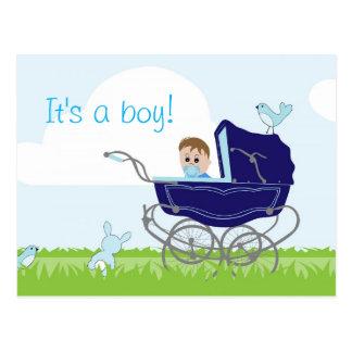 It's a boy announcement postcard