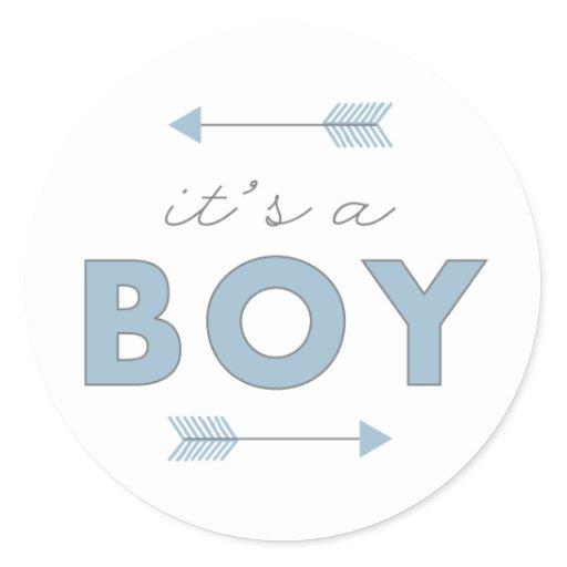 It's a Boy Arrow Baby Shower Birth Announcement Classic Round Sticker