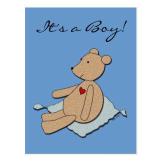 """It's a Boy"" Baby Announcement Postcard"