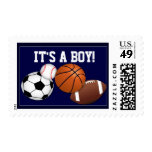 It's a boy baby announcement stamp