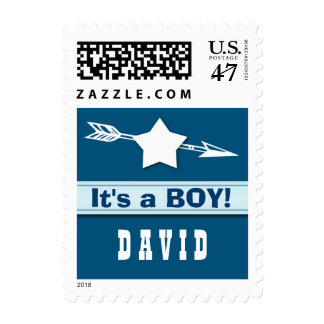 It's a Boy Baby Announcement Star Arrow A03 Postage