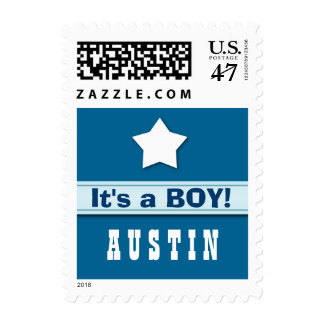 It's a Boy Baby Announcement with Star A01 Postage