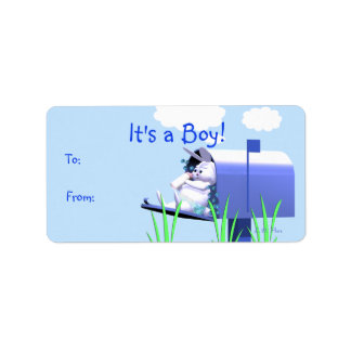 Its a Boy - Baby Bunny in Mailbox Gift Tag Personalized Address Label
