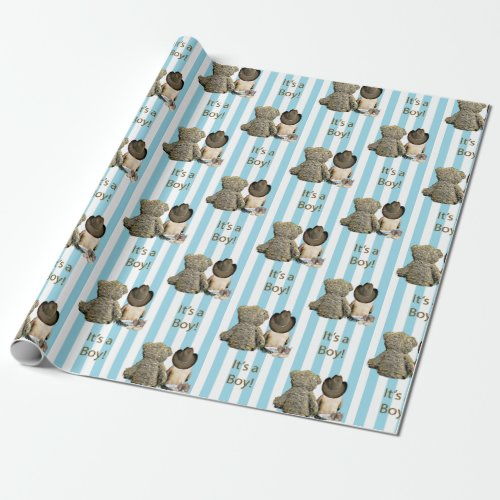 Its a Boy Baby Cowboy and Teddy Bear Baby Shower Wrapping Paper