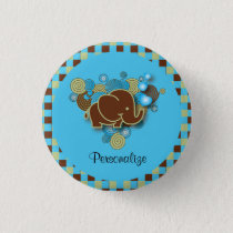 It's A Boy | Baby Elephant | Blue & Brown Plaid Button