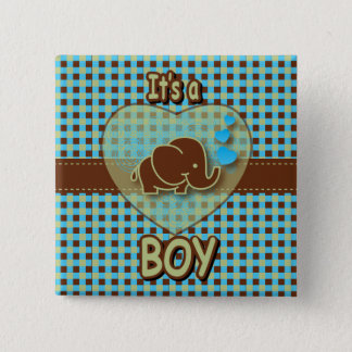 It's A Boy | Baby Elephant | Blue & Brown Plaid Button