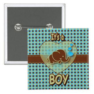 It's A Boy   Baby Elephant   Blue & Brown Plaid Button