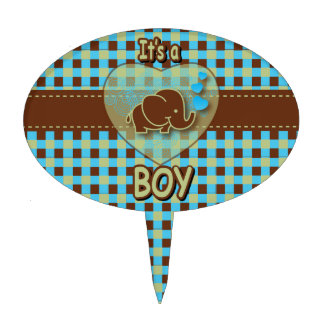 It's A Boy | Baby Elephant | Blue & Brown Plaid Cake Topper