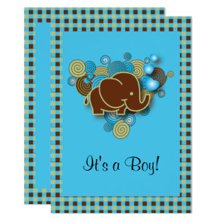 It's A Boy | Baby Elephant | Blue & Brown Plaid Card
