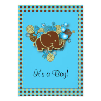 It's A Boy | Baby Elephant | Blue & Brown Plaid Card