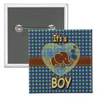 It's A Boy   Baby Elephant Button