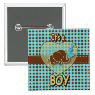 It's A Boy | Baby Elephant 2 Inch Square Button