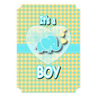 It's A Boy | Baby Elephant 5x7 Paper Invitation Card