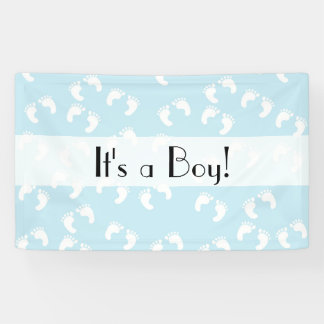It's a Boy - Baby Footprints (Footsteps) - Blue Banner