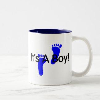 Its A Boy Baby Footprints Two-Tone Coffee Mug