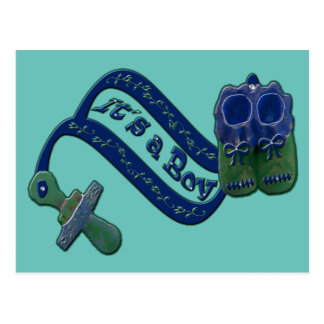 It's a Boy Baby Pacifier Shoes Thank You Postcard