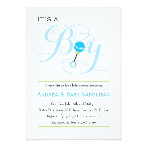 It's a Boy Baby Rattle Baby Shower 5x7 Paper Invitation Card