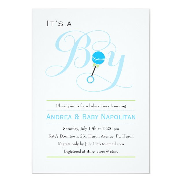 Itu0027s A Boy Baby Rattle   Baby Shower 5x7 Paper Invitation Card