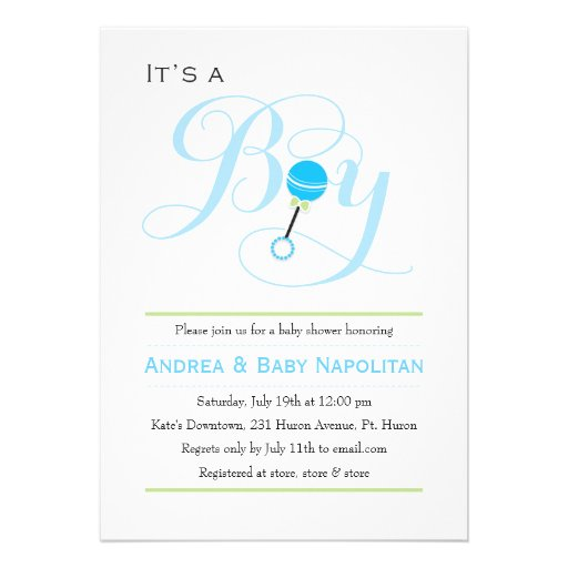 It's a Boy Baby Rattle  | Baby Shower Custom Invitation