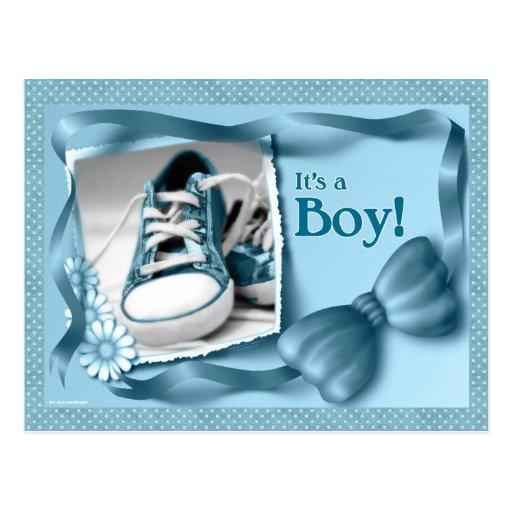 It's a Boy Baby Shoe Customized Postcard