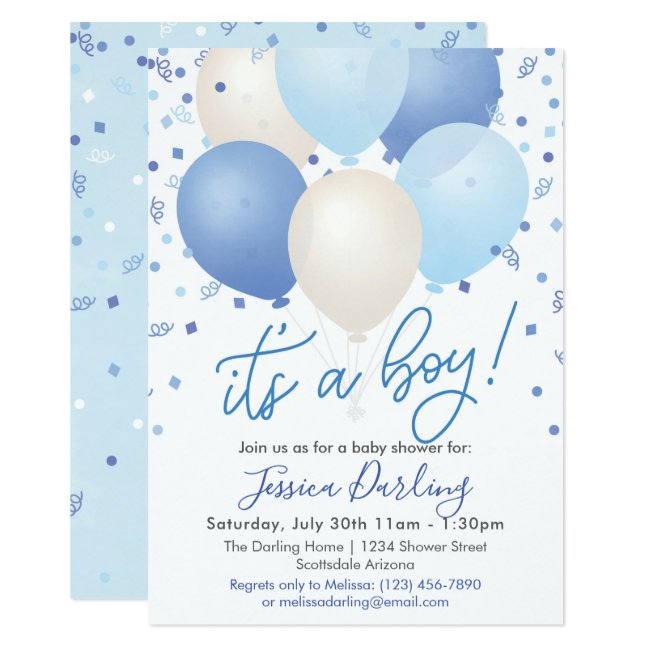It's a Boy Baby Shower Blue Balloons and Confetti Invitation