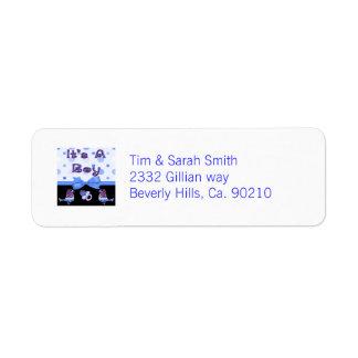 It's A Boy Baby Shower Blue & Purple Bling Return Address Label