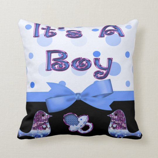 It's A Boy Baby Shower Blue & Purple Bling Throw Pillow