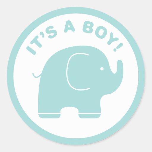 It's a Boy Baby Shower Cute Blue Elephant Sticker