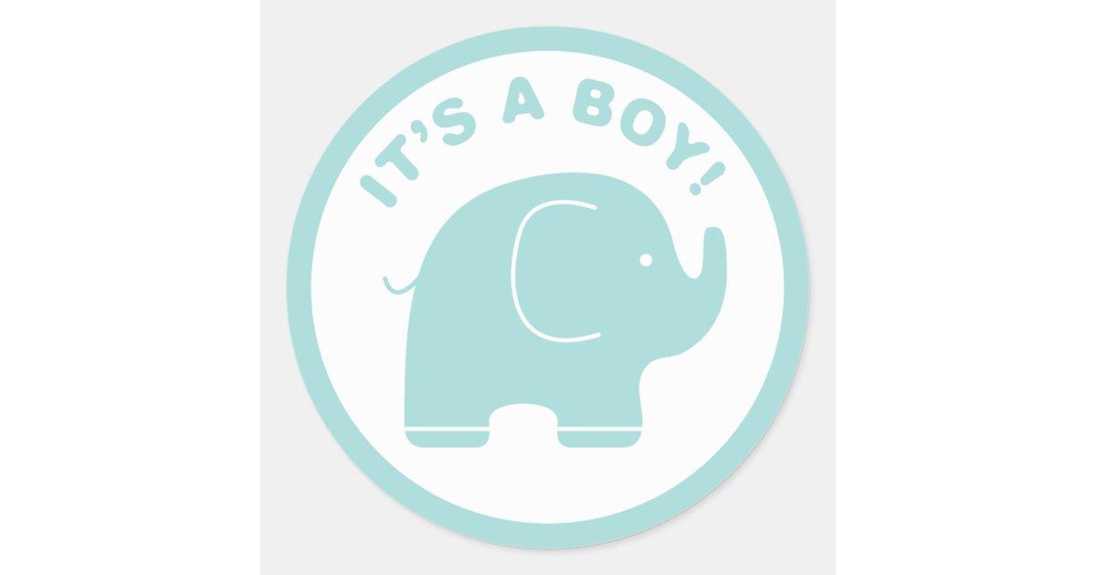 Its A Boy Baby Shower Cute Blue Elephant Sticker Zazzle
