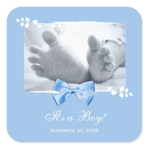 Its a Boy Baby Shower Elegant Birth Announcement Square Sticker